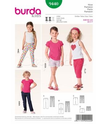 Burda Πατρόν Κοριτσίστικα Παντελόνια 9440 4eacc351001