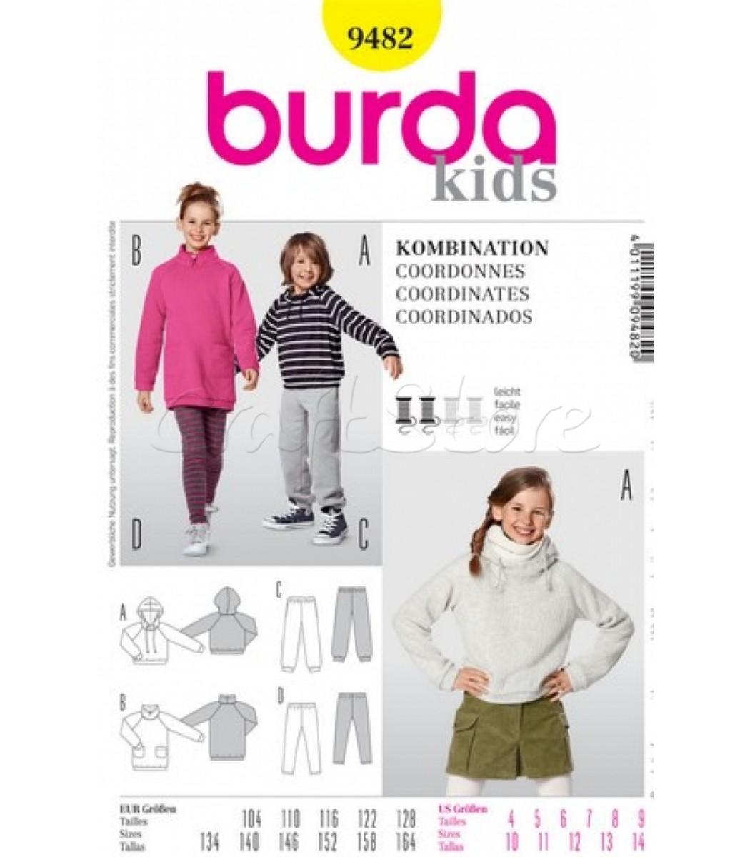 dc3db4aec54 Burda Πατρόν Παιδικά Φούτερ και Φόρμες 9482 | Ραπτική | Burda