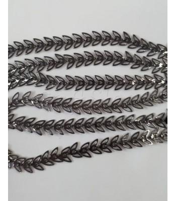 Ορειχάλκινη Μπρούτζινη Αλυσίδα Φύλλα 6.8x6.3mm/ Μεταλλικό Μαύρο