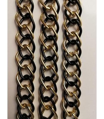 Αλυσίδα Αλουμινίου Δίχρωμη 13x18mm Μαύρο-Χρυσό