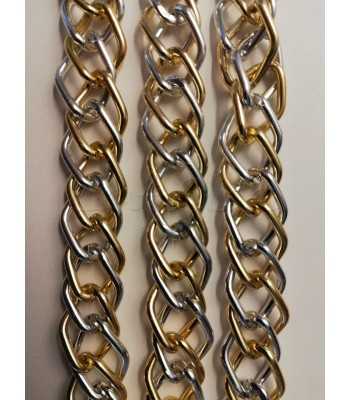 Αλυσίδα Αλουμινίου Δίχρωμη 13x18mm Νίκελ-Χρυσό