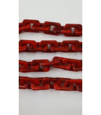 Ακρυλική Αλυσίδα Κρίκος Ταυτότητα 20x31mm Κόκκινο