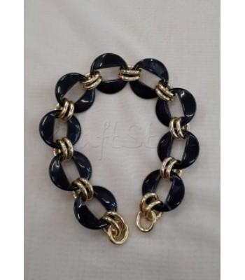 Αλυσίδα -Χεράκι Κοκκάλινη με κρίκους Μαύρο-Χρυσό 43εκ. 1τμχ