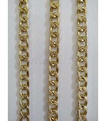 Αλυσίδα  10x15mm Πλακέ Σαγρέ Χρυσό