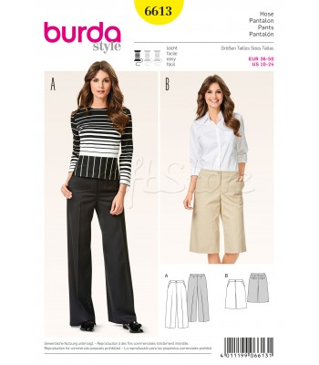 Burda Πατρόν Με Παντελόνι Και Βερμούδα 6613 3f99e2d6fa1
