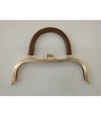 Πλαίσιο Χρυσό Χερούλι Καφέ Ξύλο 26cm