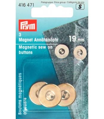 Κουμπιά Μαγνητικά Ραβόμενα 19mm Χρυσά