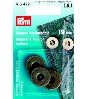 Κουμπιά Μαγνητικά Ραβόμενα 19mm Μπρονζέ (3 τεμάχια)