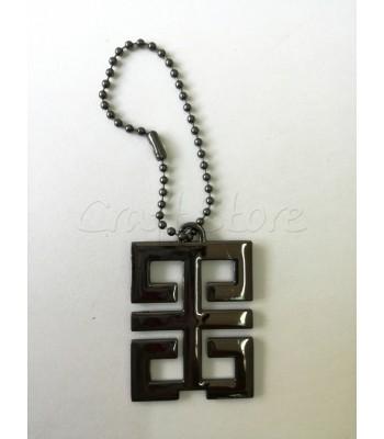 Διακοσμητικό Κρεμαστό Ταμπελακι Ορθογώνιο 5x3.5εκ. Μαύρο Νίκελ