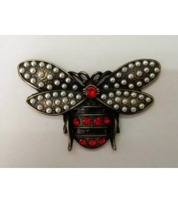 Διακοσμητικό Ταμπελάκι Μέλισσα με Πέρλες 8εκ. Μπρονζέ