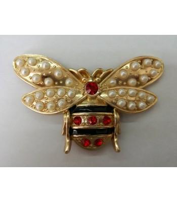 Διακοσμητικό Ταμπελάκι Μέλισσα με Πέρλες 8εκ. Χρυσό
