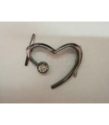 Διακοσμητική Καρδιά με Στρας 5εκ. Μαύρο Νίκελ