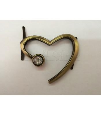 Διακοσμητική Καρδιά με Στρας 5εκ. Μπρονζέ