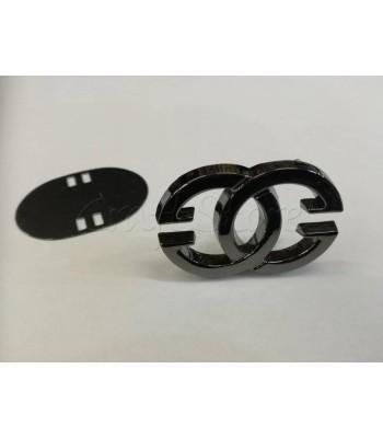Ταμπελάκι ομορφιάς Διακοσμητικοί Κύκλοι 4.5x3cm Μαύρο Νίκελ