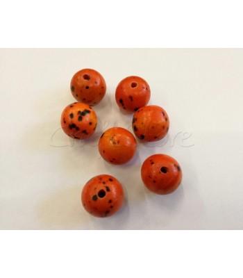 Χάντρες Στικτές Πορτοκαλί 25mm (Ø 4mm) (5 τεμάχια)