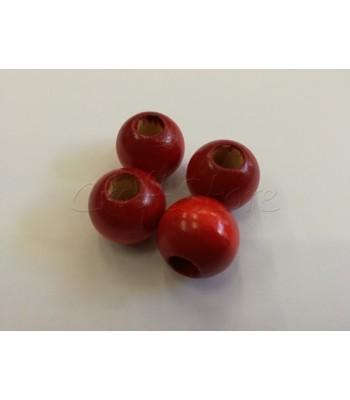 Ξυλινη Χάντρα 25mm Κόκκινο