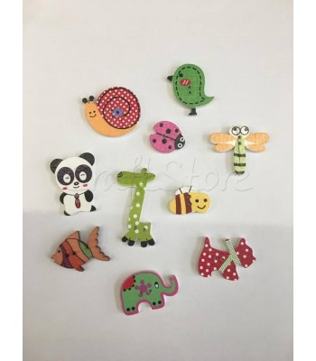 Κουμπιά Ξύλινα Zoo (10 τεμάχια)