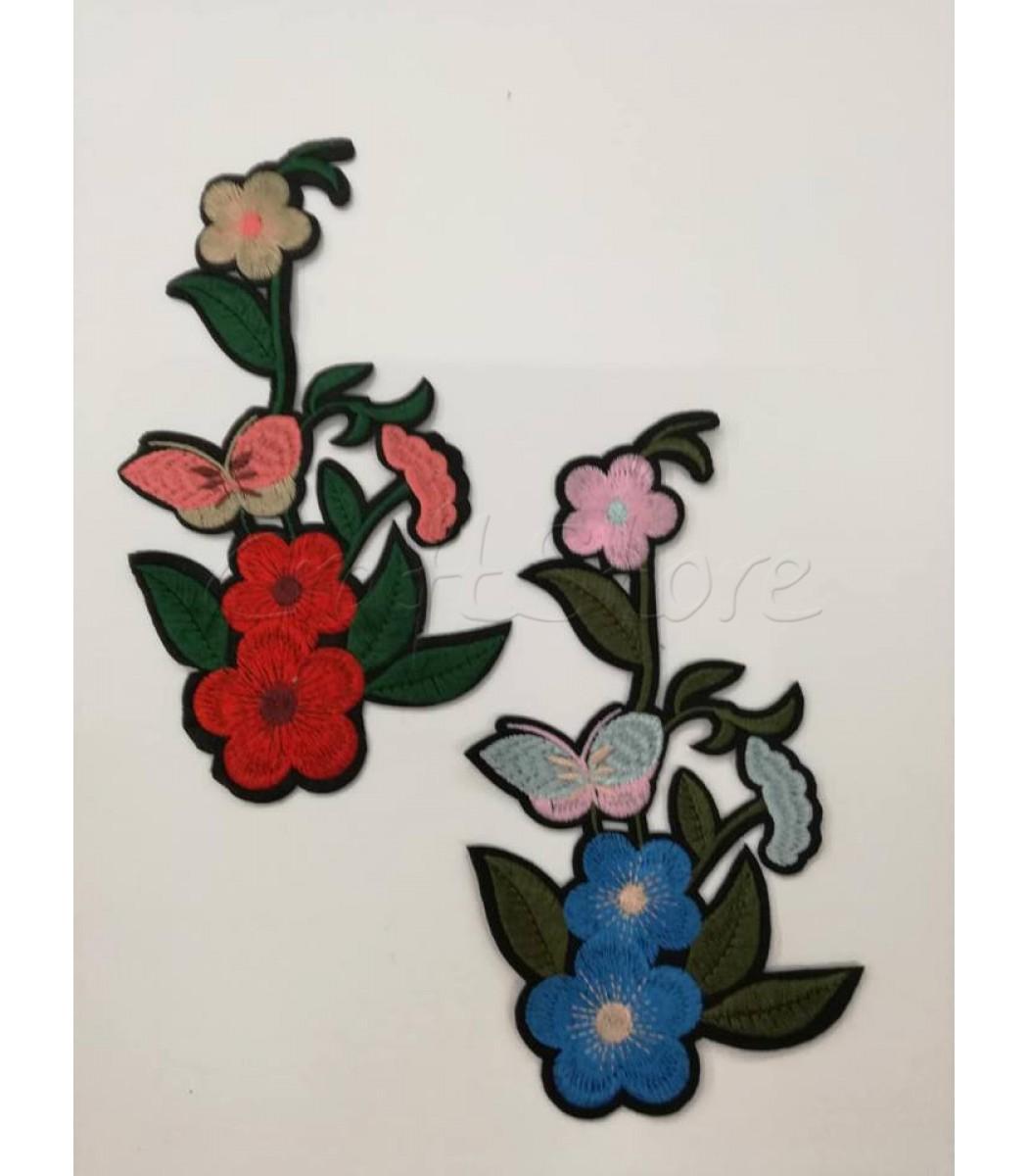 df9e37d5124 Μοτίφ Διακοσμητικό Θερμοκολλητικό Λουλούδια με Πεταλούδες 19εκ. / 1 τμχ