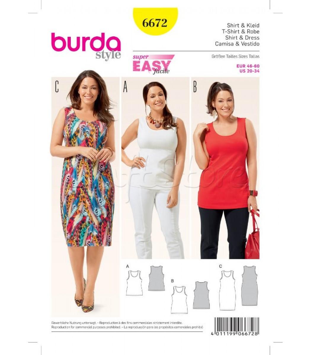 5da5390edb3 Burda Πατρόν Μπλούζες-Φόρεμα 6672| Ραπτική | Burda