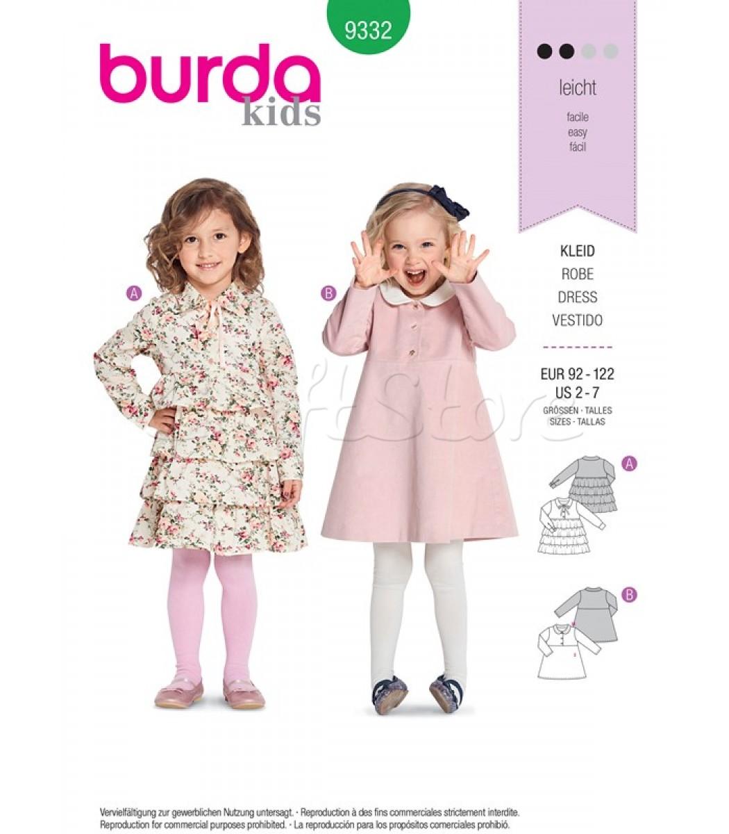 01e5b19dfa6 Burda Πατρόν Κοριτσίστικα Φορέματα 9332 | Ραπτική | Burda