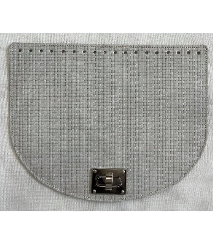 Καπάκι Ημικύκλιο Ανάγλυφο Γκρι Πάγου 28x22 cm με Κούμπωμα Στριφτό Νίκελ