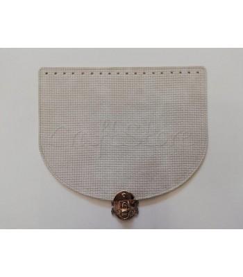 Καπάκι Ημικύκλιο Ανάγλυφο Γκρι Πάγου 28x22 cm με Κούμπωμα Στριφτό Χρυσό