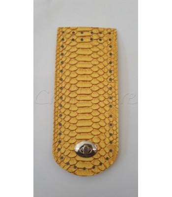 Γλωσσάκι Κίτρινο Κροκό 20x8 cm με Στριφτό Κούμπωμα Νίκελ