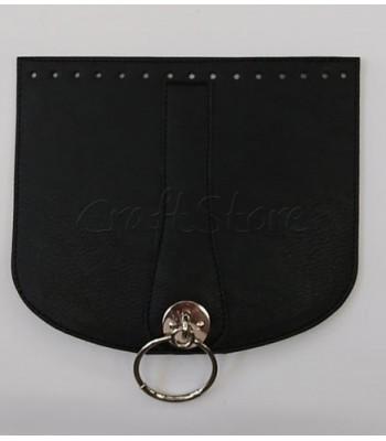 Καπάκι Ημικύκλιο 22x19 cm Μαύρο με Μαγνητικό Κούμπωμα Νίκελ και Κρίκο