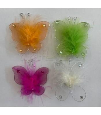 Διακοσμητικές Πεταλούδες Τούλινες με Πούπουλα και Καρφίτσα 9cm X 7cm/ 4 τμχ