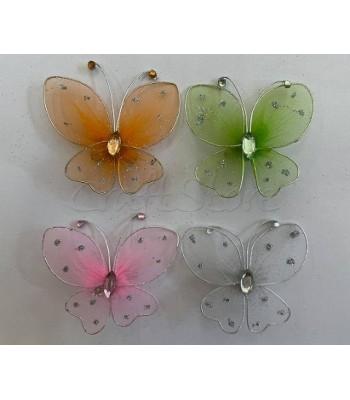 Διακοσμητικές Πεταλούδες Τούλινες με Glitter και Καρφίτσα 9cm X 7cm/ 4 τμχ