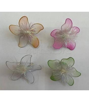 Διακοσμητικά Λουλούδια Τούλινα με Καρφίτσα 4cm X 4cm/ 4 τμχ