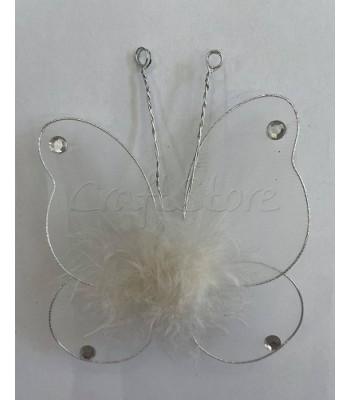 Διακοσμητική Πεταλούδα Τούλινη με Πούπουλα και Καρφίτσα 11cm X 10cm Λευκό/ 1 τμχ