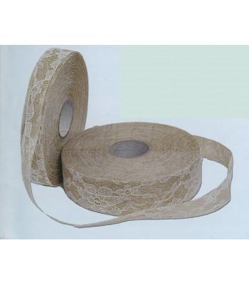 Κορδέλα Λινάτσα- Δαντέλα 4 cm (25 μέτρα)