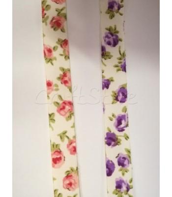 Κορδέλα Υφασμάτινη Floral 1.3 cm (ανά μέτρο)