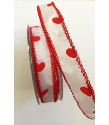 Κορδέλα Καρδιές Σατέν 2cm με σύρμα (ανά μέτρο)