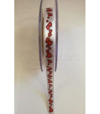 Κορδέλα Σατέν με Καρδιές 1cm Μονής όψης (ανά μέτρο)
