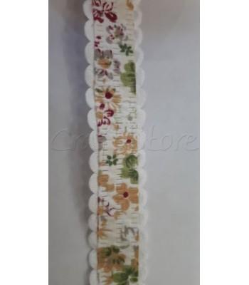 Κορδέλα Λευκή με Λουλούδια 20mm /μέτρο