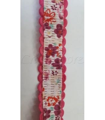 Κορδέλα Φούξια με Λουλούδια 20mm /μέτρο