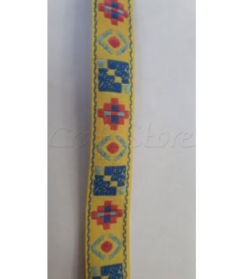 Έθνικ Κορδέλα Κίτρινη με Μπλε και Κόκκινα Στοιχεία 14mm / μέτρο