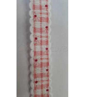 Κορδέλα Λουλούδι Κόκκινο-Λευκό 20mm  /μέτρο