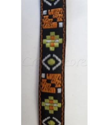 Έθνικ Κορδέλα Μαύρη με Πορτοκαλί και Λαχανί Στοιχεία 14mm / μέτρο