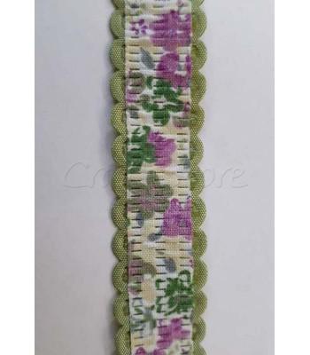 Κορδέλα Πράσινη με Λουλούδια 20mm /μέτρο