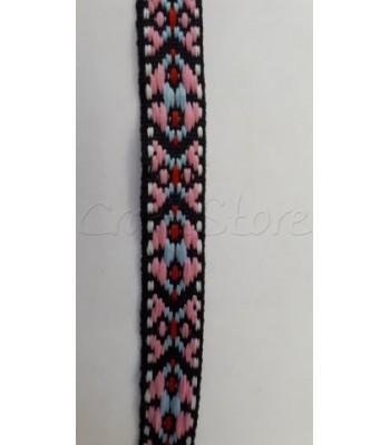 Έθνικ Κορδέλα Ροζ Σιέλ 14mm / μέτρο