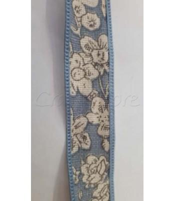 Κορδέλα Σιέλ με Εκρού Λουλούδια 20mm /μέτρο
