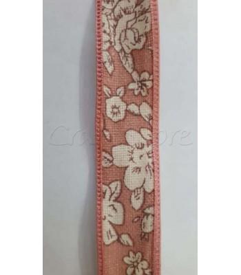 Κορδέλα Σομόν με Εκρού Λουλούδια 20mm /μέτρο