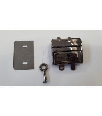 Μεταλλικό Κούμπωμα Τσάντας Κλειδαριά 4x5εκ. Μαύρο Νίκελ