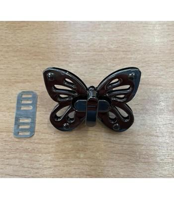 Μεταλλικό Στριφτό Κούμπωμα Πεταλούδα Μαύρο Νίκελ 5x3.5cm
