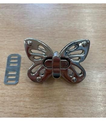Μεταλλικό Στριφτό Κούμπωμα Πεταλούδα Νίκελ 5x3.5cm