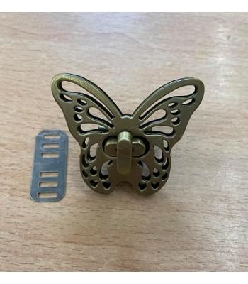 Μεταλλικό Στριφτό Κούμπωμα Πεταλούδα Μπρονζέ 5x4cm
