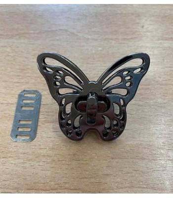 Μεταλλικό Στριφτό Κούμπωμα Πεταλούδα Μαύρο Νίκελ 5x4cm